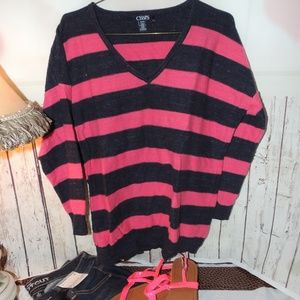Chaps blue and pink sweater medium